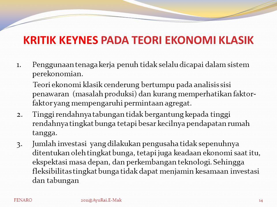 KRITIK KEYNES PADA TEORI EKONOMI KLASIK 1.