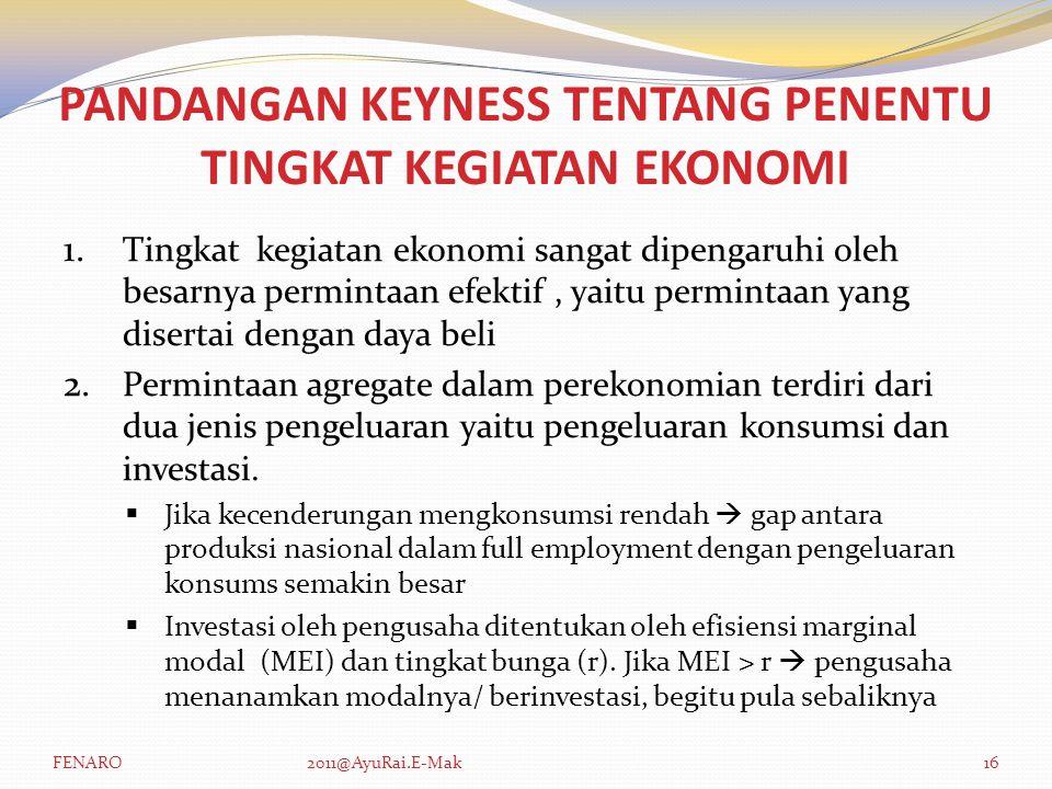 PANDANGAN KEYNESS TENTANG PENENTU TINGKAT KEGIATAN EKONOMI 1. Tingkat kegiatan ekonomi sangat dipengaruhi oleh besarnya permintaan efektif, yaitu perm