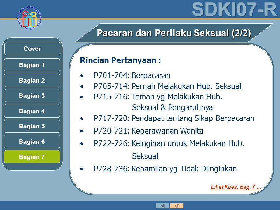 Rincian Pertanyaan : •P701-704: Berpacaran •P705-714: Pernah Melakukan Hub.