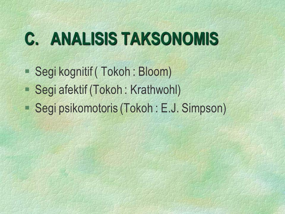 C. ANALISIS TAKSONOMIS §Segi kognitif ( Tokoh : Bloom) §Segi afektif (Tokoh : Krathwohl) §Segi psikomotoris (Tokoh : E.J. Simpson)