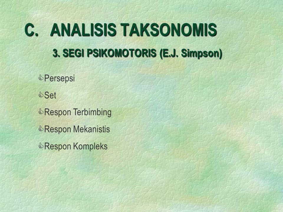 C. ANALISIS TAKSONOMIS 3. SEGI PSIKOMOTORIS (E.J. Simpson) C CPersepsi C CSet C CRespon Terbimbing C CRespon Mekanistis C CRespon Kompleks