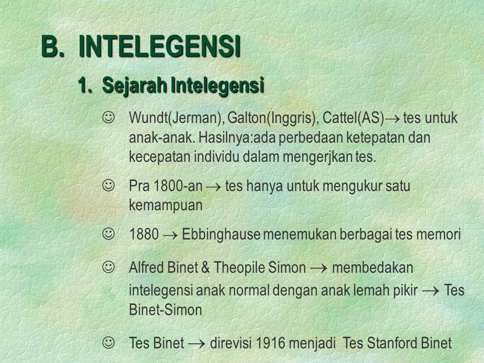 B. INTELEGENSI 1. Sejarah Intelegensi   Wundt(Jerman), Galton(Inggris), Cattel(AS)  tes untuk anak-anak. Hasilnya:ada perbedaan ketepatan dan kecep