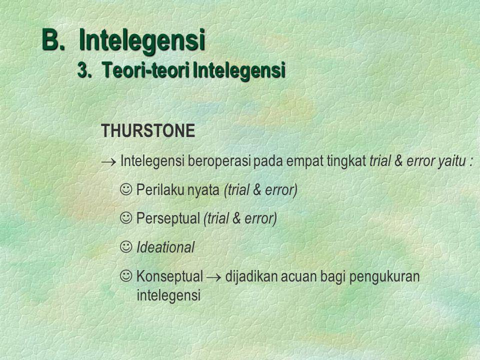 B. Intelegensi 3. Teori-teori Intelegensi THURSTONE  Intelegensi beroperasi pada empat tingkat trial & error yaitu :  Perilaku nyata (trial & error)