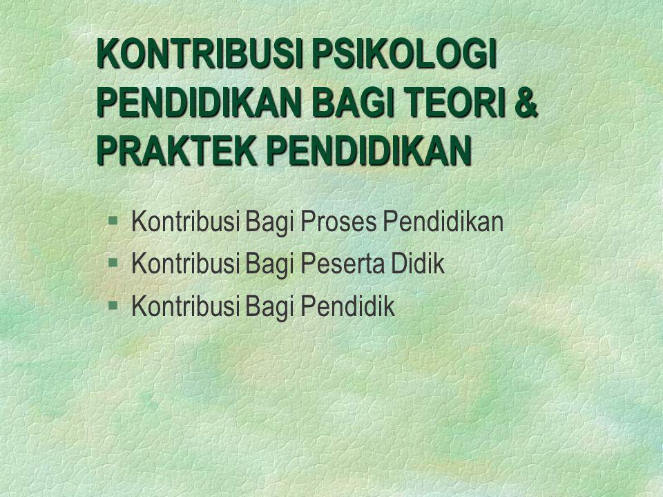 KONTRIBUSI PSIKOLOGI PENDIDIKAN BAGI TEORI & PRAKTEK PENDIDIKAN 1.