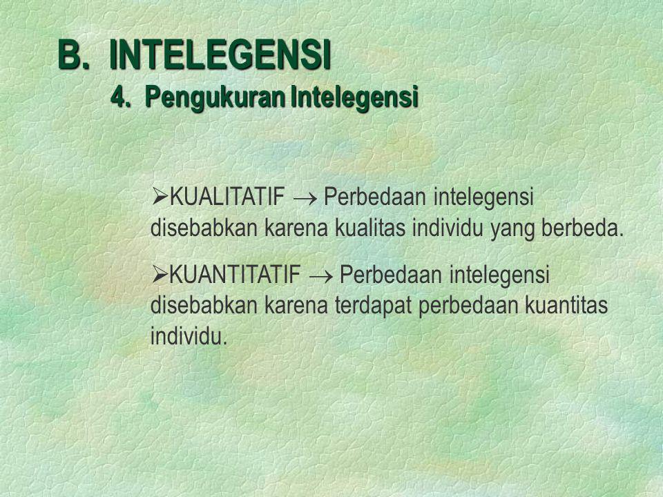 B. INTELEGENSI 4. Pengukuran Intelegensi   KUALITATIF  Perbedaan intelegensi disebabkan karena kualitas individu yang berbeda.   KUANTITATIF  Pe
