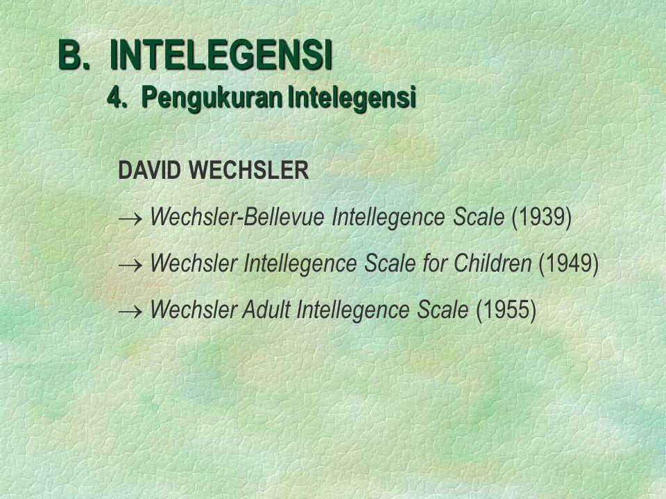 B. INTELEGENSI 4. Pengukuran Intelegensi DAVID WECHSLER  Wechsler-Bellevue Intellegence Scale (1939)  Wechsler Intellegence Scale for Children (1949