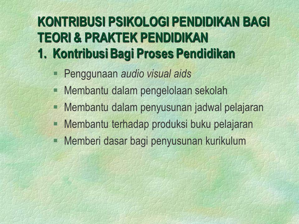 KONTRIBUSI PSIKOLOGI PENDIDIKAN BAGI TEORI & PRAKTEK PENDIDIKAN 1. Kontribusi Bagi Proses Pendidikan §Penggunaan audio visual aids §Membantu dalam pen