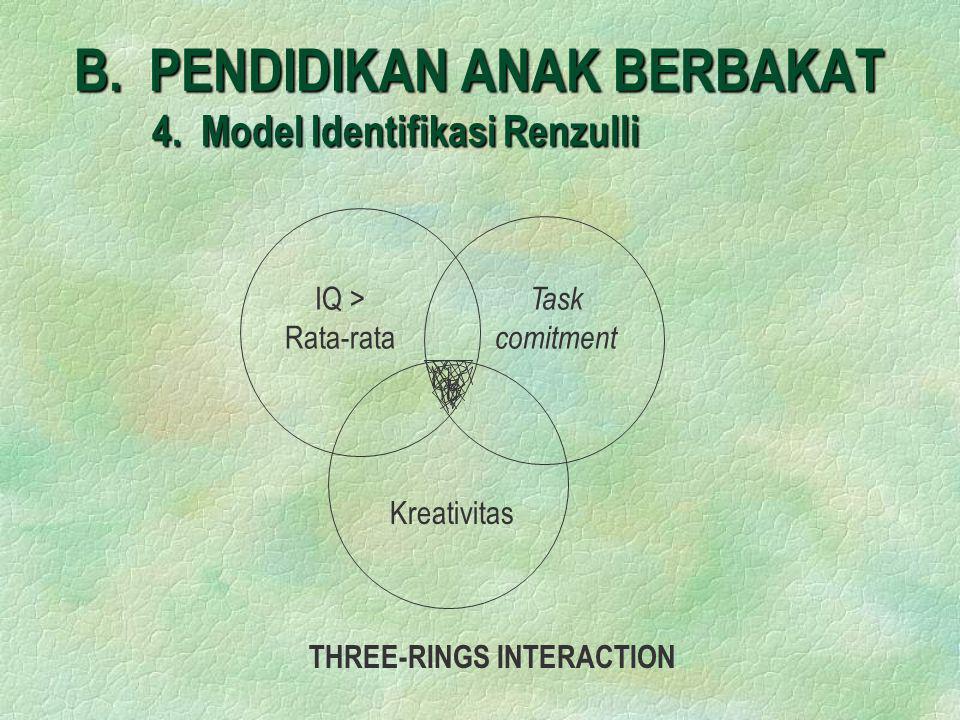 B. PENDIDIKAN ANAK BERBAKAT 4. Model Identifikasi Renzulli IQ > Rata-rata Task comitment Kreativitas THREE-RINGS INTERACTION