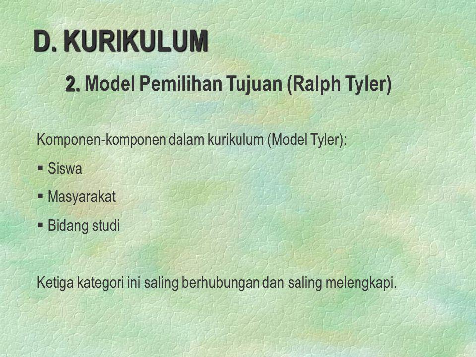 D. KURIKULUM 2. 2. Model Pemilihan Tujuan (Ralph Tyler) Komponen-komponen dalam kurikulum (Model Tyler): § § Siswa § § Masyarakat § § Bidang studi Ket