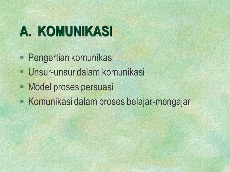 A. KOMUNIKASI §Pengertian komunikasi §Unsur-unsur dalam komunikasi §Model proses persuasi §Komunikasi dalam proses belajar-mengajar