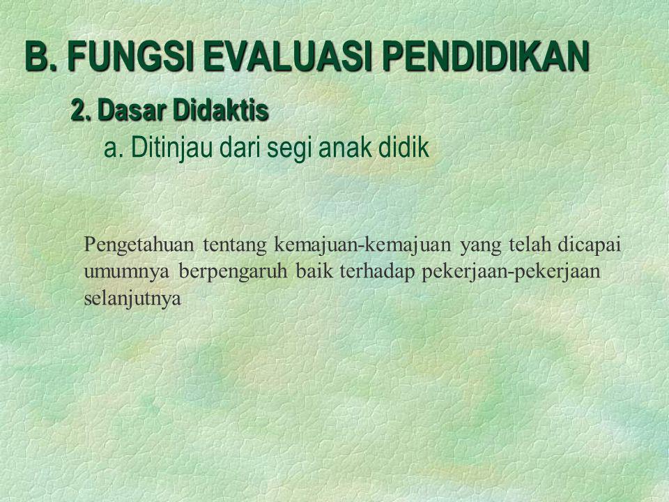 B. FUNGSI EVALUASI PENDIDIKAN 2. Dasar Didaktis B. FUNGSI EVALUASI PENDIDIKAN 2. Dasar Didaktis a. Ditinjau dari segi anak didik Pengetahuan tentang k