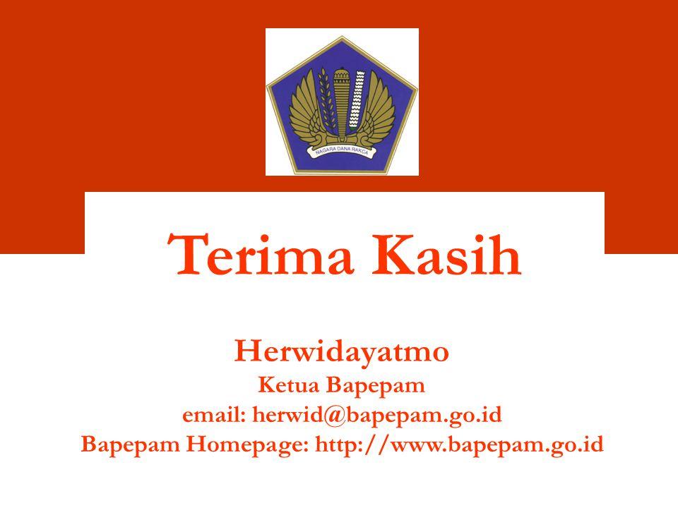 Terima Kasih Herwidayatmo Ketua Bapepam email: herwid@bapepam.go.id Bapepam Homepage: http://www.bapepam.go.id