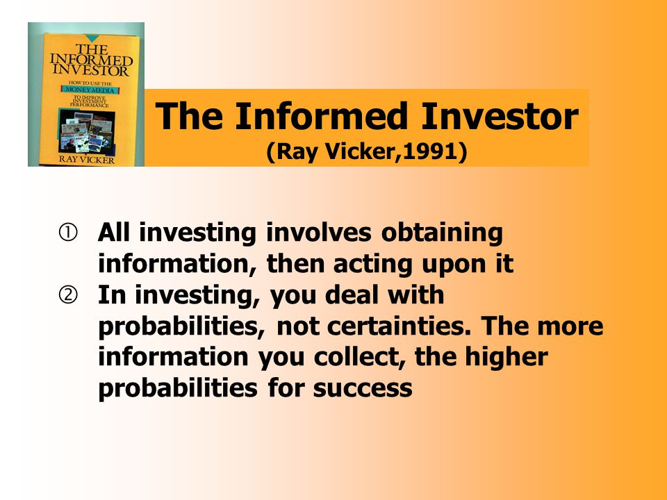 Information is the lifeblood of the Capital Markets  Investors risk their hard-earned capital in the markets in great measure based on information they receive frrom their target companies  They need reliable information on a timely basis  They want it in language they can understand, and they should receive it in formats they can easily use for analysis