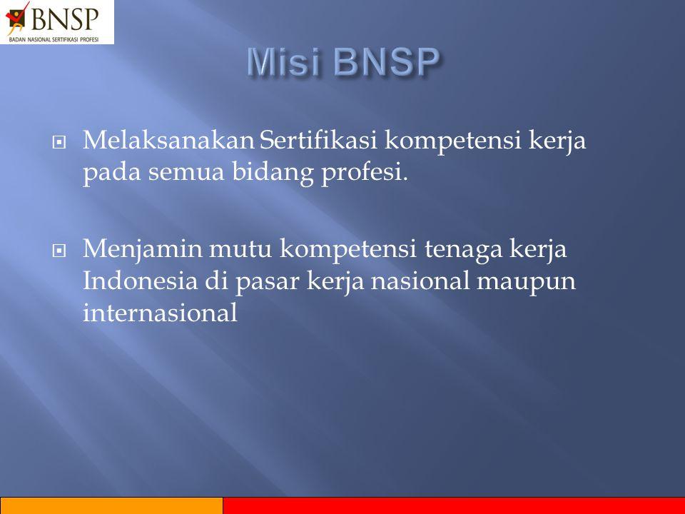  Menjadi Lembaga Otoritas Sertifikasi Profesi yang terpercaya dan diakui secara Nasional maupun Internasional.  Terwujudnya tenaga kerja Indonesia y