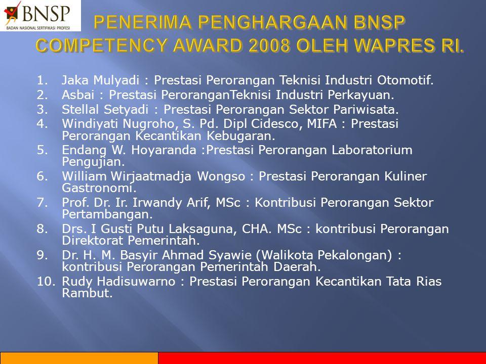 YANG SUDAH DILAKSANAKAN BNSP  Pemberian Lisensi kepada 33 Lembaga Sertifikasi Profesi ( LSP ).  Pemberian Penghargaan kepada 10 Individu & 10 Organi