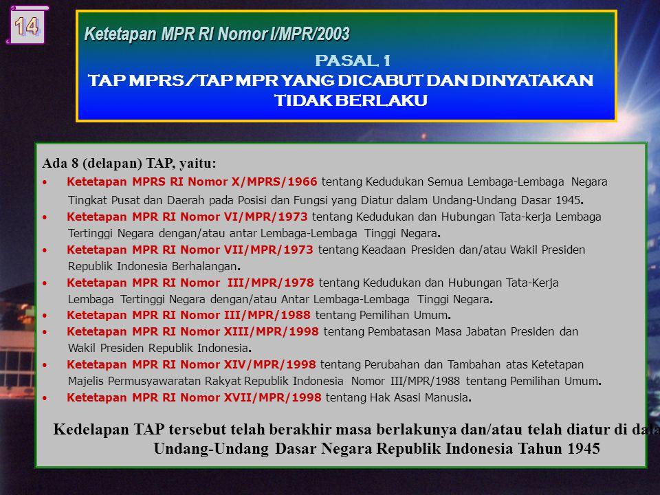 Antara lain: •Ketetapan MPR RI Nomor III/MPR/1988 tentang Pemilihan Umum.