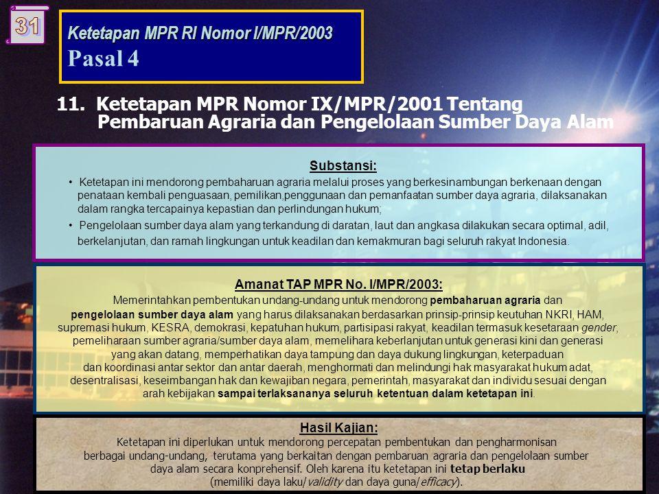 11. Ketetapan MPR Nomor IX/MPR/2001 Tentang Pembaruan Agraria dan Pengelolaan Sumber Daya Alam Substansi: • Ketetapan ini mendorong pembaharuan agrari