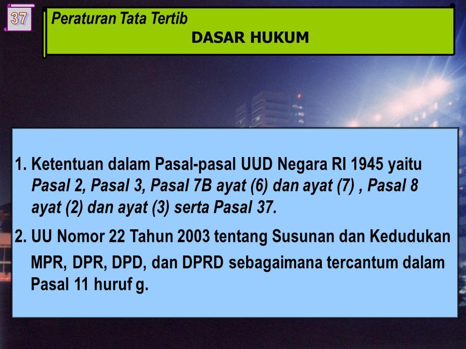 Peraturan Tata Tertib DASAR HUKUM 1.