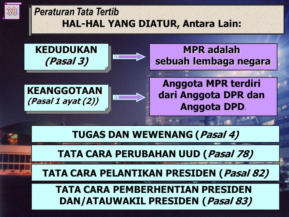 Peraturan Tata Tertib HAL-HAL YANG DIATUR, Antara Lain: KEDUDUKAN (Pasal 3) KEDUDUKAN MPR adalah sebuah lembaga negara KEANGGOTAAN (Pasal 1 ayat (2)) Anggota MPR terdiri dari Anggota DPR dan Anggota DPD.