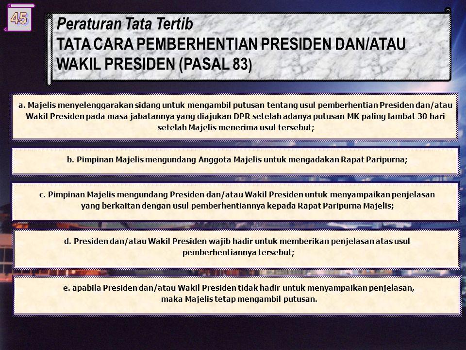 a. Majelis menyelenggarakan sidang untuk mengambil putusan tentang usul pemberhentian Presiden dan/atau Wakil Presiden pada masa jabatannya yang diaju