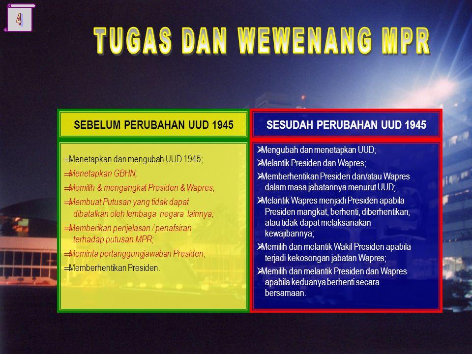  Menetapkan dan mengubah UUD 1945;  Menetapkan GBHN;  Memilih & mengangkat Presiden & Wapres;  Membuat Putusan yang tidak dapat dibatalkan oleh lembaga negara lainnya;  Memberikan penjelasan / penafsiran terhadap putusan MPR;  Meminta pertanggungjawaban Presiden;  Memberhentikan Presiden.