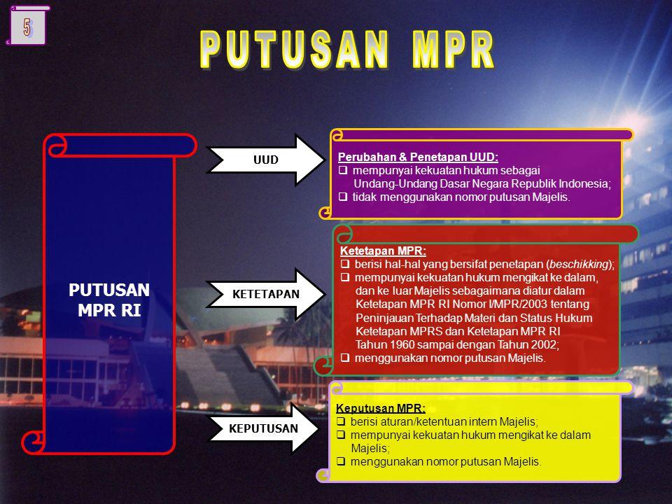 Peraturan Tata Tertib DASAR PEMIKIRAN DAN TUJUAN PEMBENTUKAN TATA-TERTIB Perubahan UUD NEGARA RI 1945 mengharuskan MPR melakukan penyesuaian terhadap Peraturan Tata Tertib MPR yang dituangkan ke dalam Keputusan MPR Nomor 7/MPR/2004 tentang Peraturan Tata Tertib MPR RI sebagaimana telah diubah dengan Keputusan MPR RI Nomor 13/MPR/2004 tentang Perubahan Peraturan Tata Tertib MPR RI.