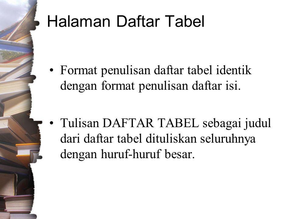 Halaman Daftar Tabel •Format penulisan daftar tabel identik dengan format penulisan daftar isi.