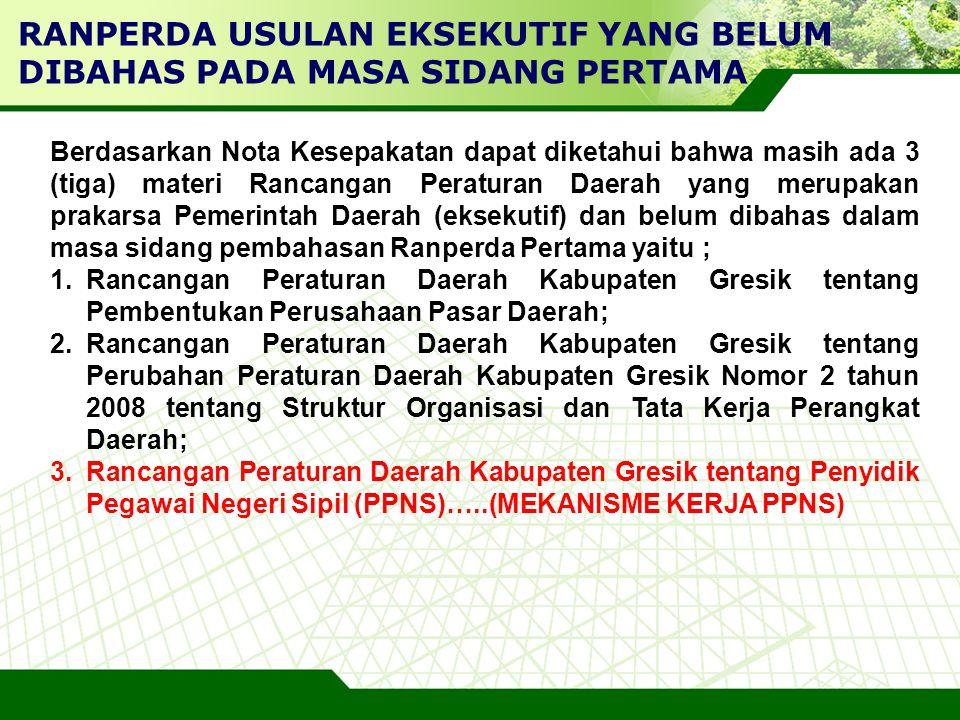 LOGO Berdasarkan Nota Kesepakatan dapat diketahui bahwa masih ada 3 (tiga) materi Rancangan Peraturan Daerah yang merupakan prakarsa Pemerintah Daerah