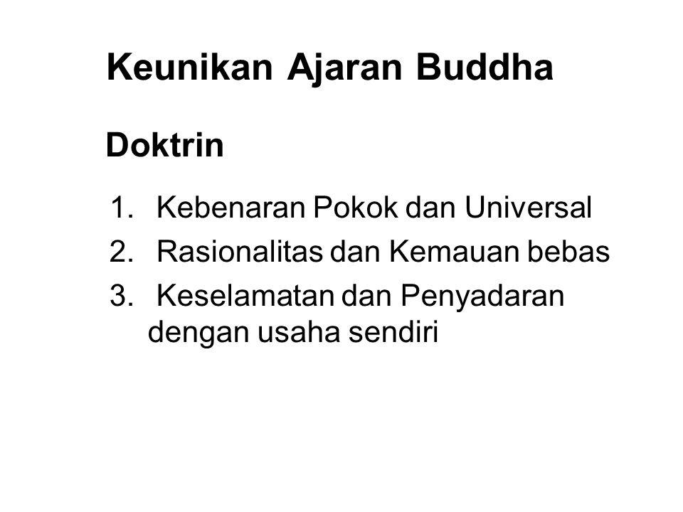 Keunikan Ajaran Buddha Doktrin 1. Kebenaran Pokok dan Universal 2. Rasionalitas dan Kemauan bebas 3. Keselamatan dan Penyadaran dengan usaha sendiri 4