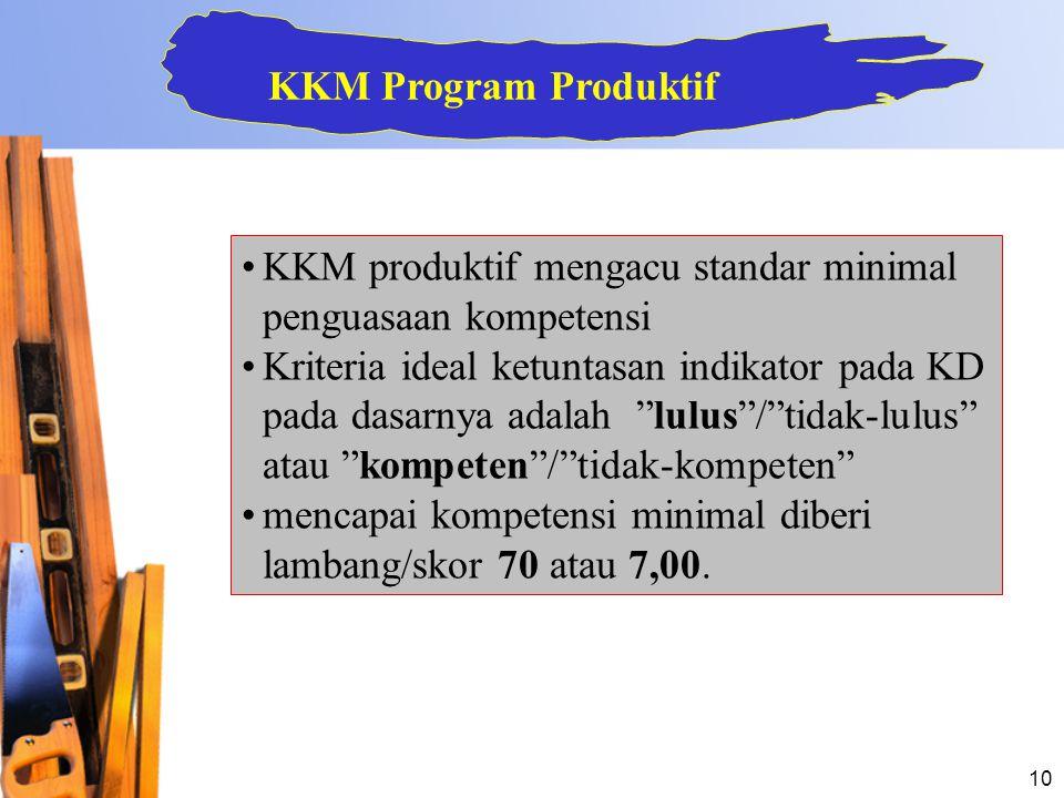 """10 •KKM produktif mengacu standar minimal penguasaan kompetensi •Kriteria ideal ketuntasan indikator pada KD pada dasarnya adalah """"lulus""""/""""tidak-lulus"""