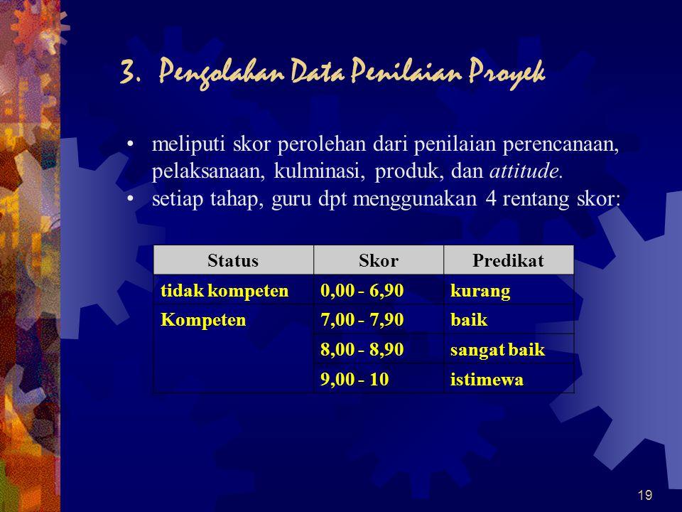 19 3. Pengolahan Data Penilaian Proyek •meliputi skor perolehan dari penilaian perencanaan, pelaksanaan, kulminasi, produk, dan attitude. •setiap taha