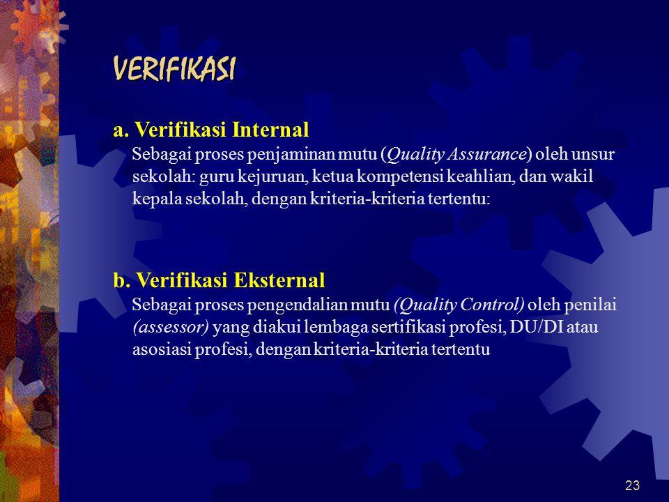 23 VERIFIKASI a. Verifikasi Internal Sebagai proses penjaminan mutu (Quality Assurance) oleh unsur sekolah: guru kejuruan, ketua kompetensi keahlian,