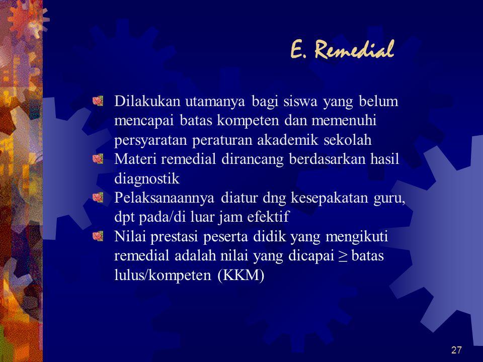 27 E. Remedial Dilakukan utamanya bagi siswa yang belum mencapai batas kompeten dan memenuhi persyaratan peraturan akademik sekolah Materi remedial di