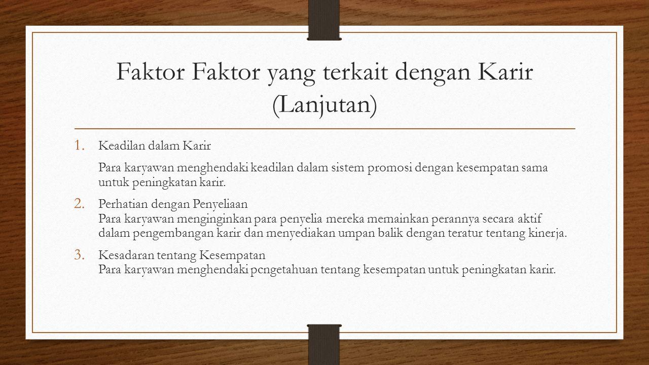 Faktor Faktor yang terkait dengan Karir (Lanjutan) 1.