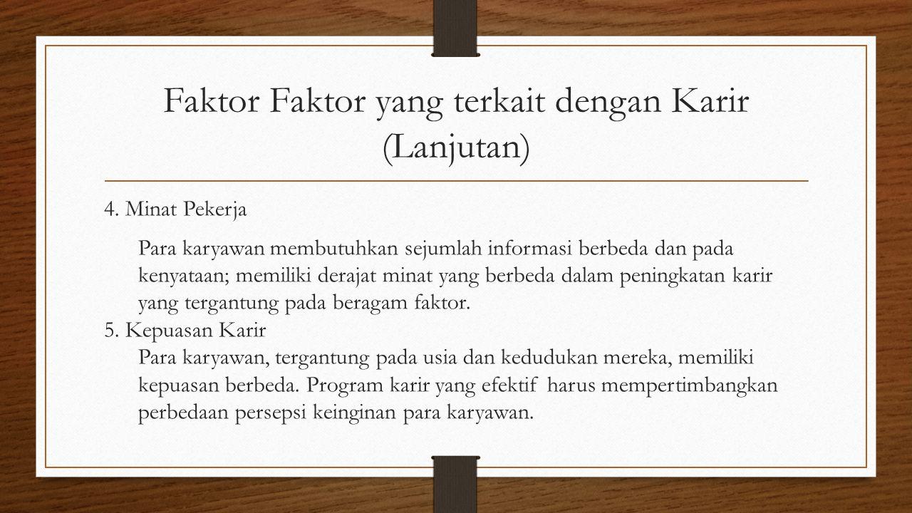 Faktor Faktor yang terkait dengan Karir (Lanjutan) 4.