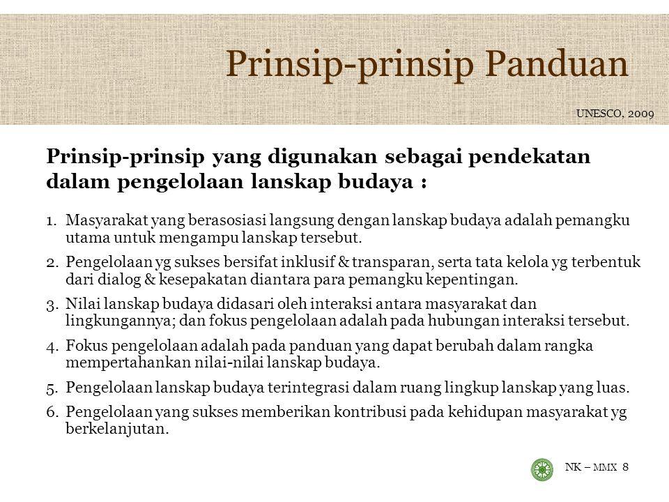 NK – MMX 8 Prinsip-prinsip Panduan 1.Masyarakat yang berasosiasi langsung dengan lanskap budaya adalah pemangku utama untuk mengampu lanskap tersebut.