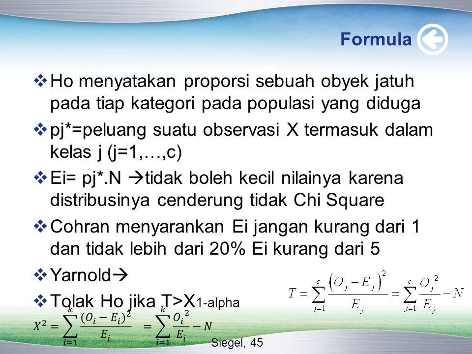 Formula  Ho menyatakan proporsi sebuah obyek jatuh pada tiap kategori pada populasi yang diduga  pj*=peluang suatu observasi X termasuk dalam kelas