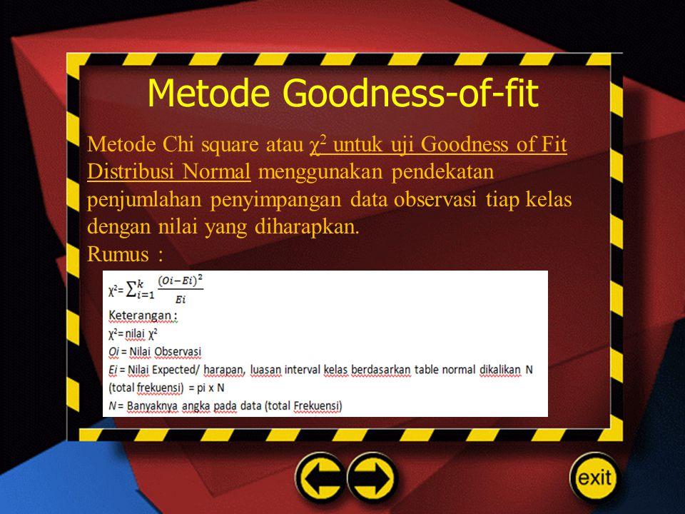 Metode Goodness-of-fit Metode Chi square atau χ 2 untuk uji Goodness of Fit Distribusi Normal menggunakan pendekatan penjumlahan penyimpangan data obs