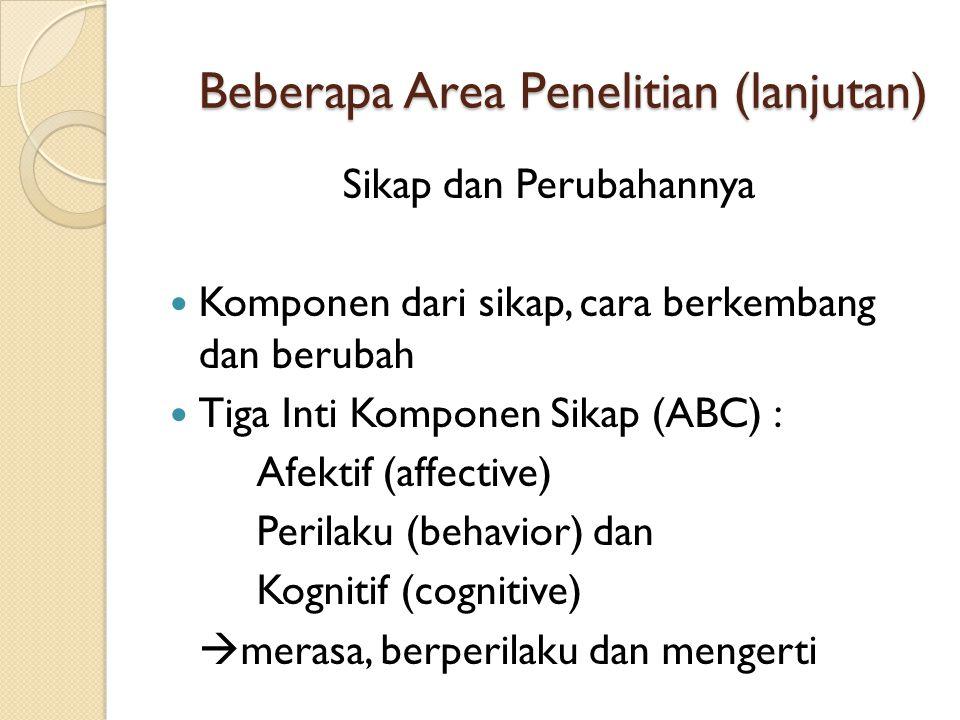Beberapa Area Penelitian (lanjutan) Sikap dan Perubahannya  Komponen dari sikap, cara berkembang dan berubah  Tiga Inti Komponen Sikap (ABC) : Afekt