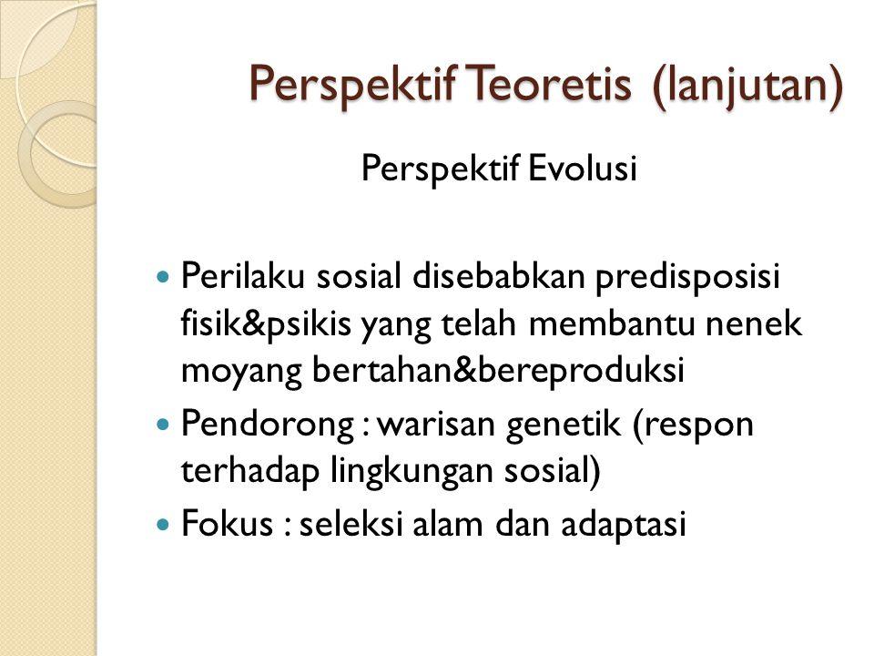 Perspektif Teoretis (lanjutan) Perspektif Evolusi  Perilaku sosial disebabkan predisposisi fisik&psikis yang telah membantu nenek moyang bertahan&ber
