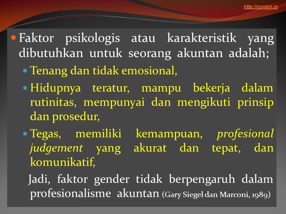  Faktor psikologis atau karakteristik yang dibutuhkan untuk seorang akuntan adalah;  Tenang dan tidak emosional,  Hidupnya teratur, mampu bekerja d