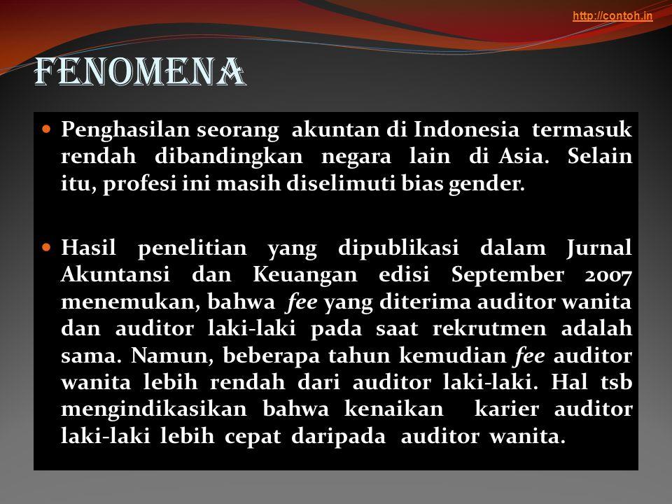 Fenomena  Penghasilan seorang akuntan di Indonesia termasuk rendah dibandingkan negara lain di Asia. Selain itu, profesi ini masih diselimuti bias ge