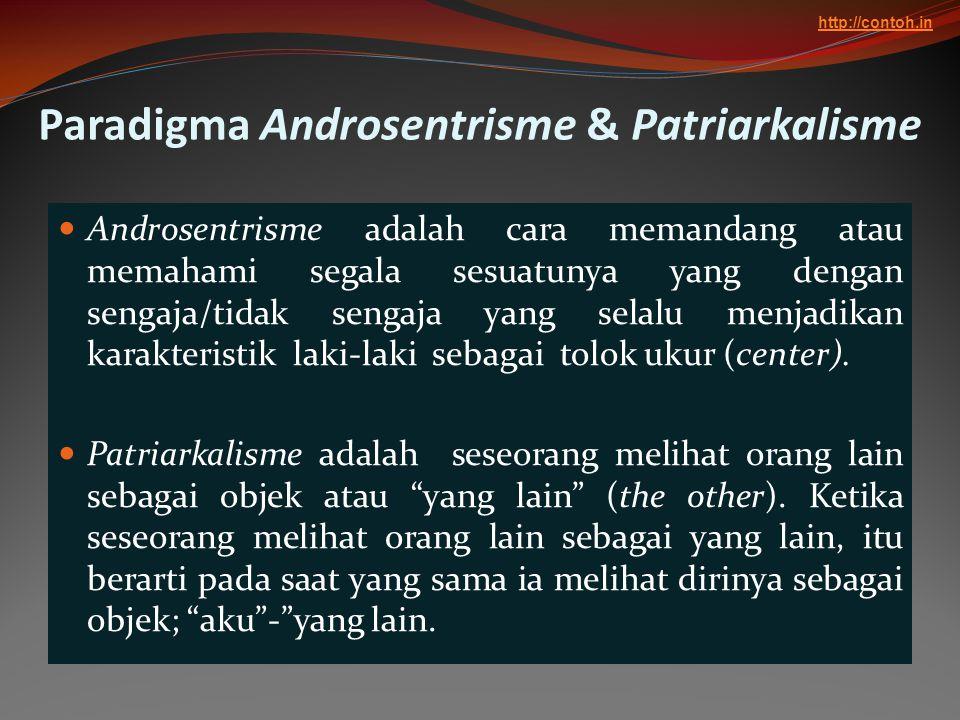 Paradigma Androsentrisme & Patriarkalisme  Androsentrisme adalah cara memandang atau memahami segala sesuatunya yang dengan sengaja/tidak sengaja yan
