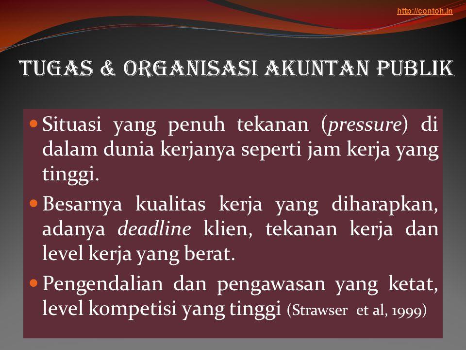 Tugas & Organisasi akuntan Publik  Situasi yang penuh tekanan (pressure) di dalam dunia kerjanya seperti jam kerja yang tinggi.  Besarnya kualitas k