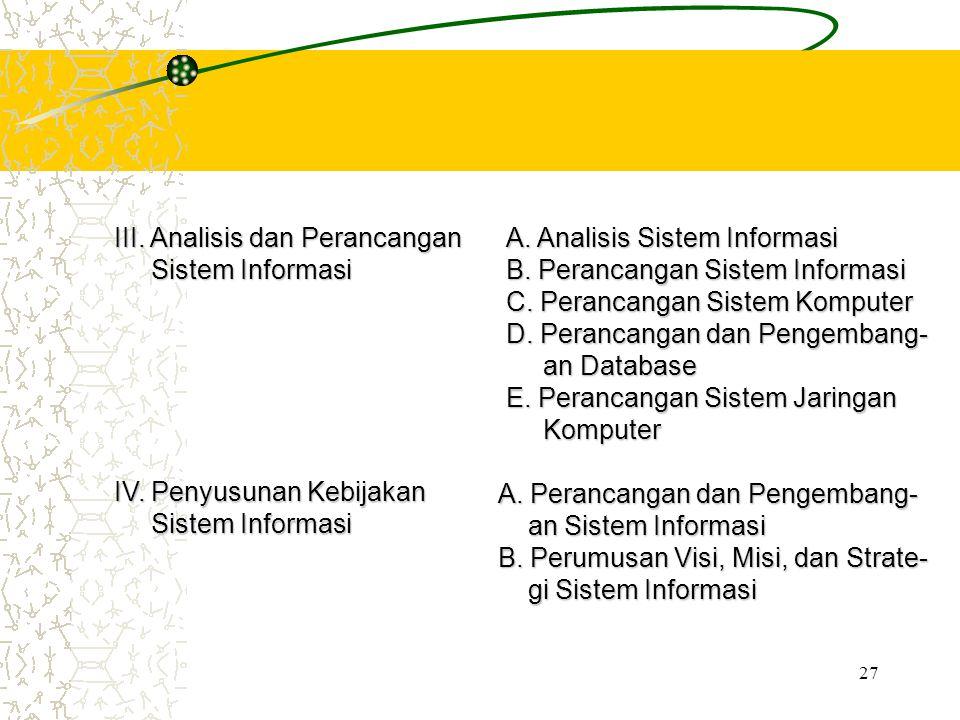 27 III. Analisis dan Perancangan Sistem Informasi Sistem Informasi A. Analisis Sistem Informasi B. Perancangan Sistem Informasi C. Perancangan Sistem