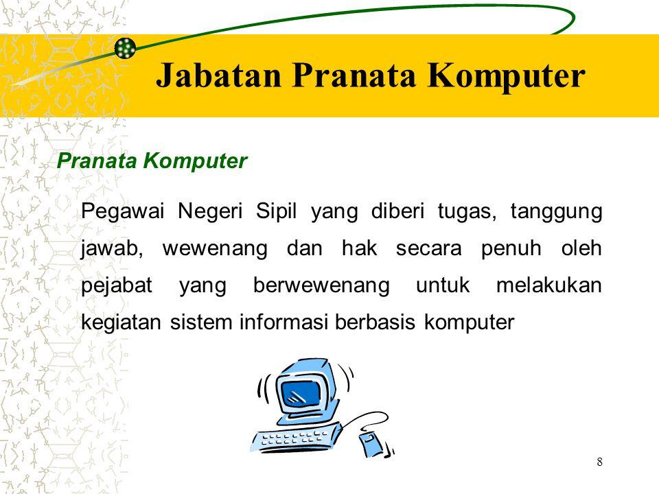 8 Jabatan Pranata Komputer Pranata Komputer Pegawai Negeri Sipil yang diberi tugas, tanggung jawab, wewenang dan hak secara penuh oleh pejabat yang be