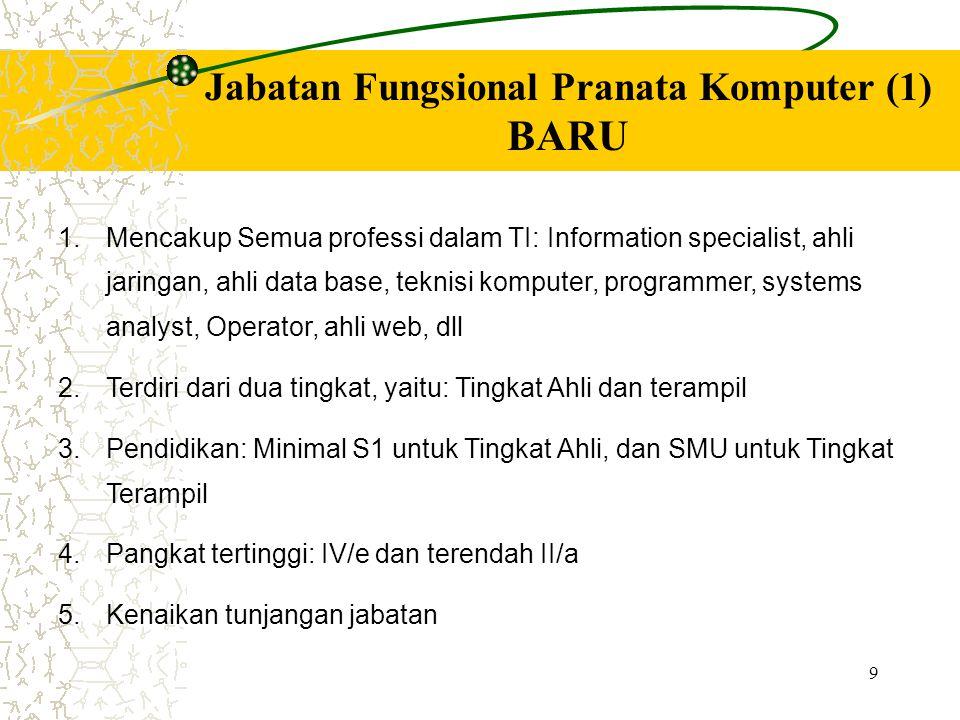 9 Jabatan Fungsional Pranata Komputer (1) BARU 1. 1.Mencakup Semua professi dalam TI: Information specialist, ahli jaringan, ahli data base, teknisi k
