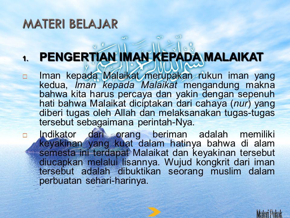 MATERI BELAJAR TANDA-TANDA PERILAKU BERIMAN KEPADA MALAIKAT 1.