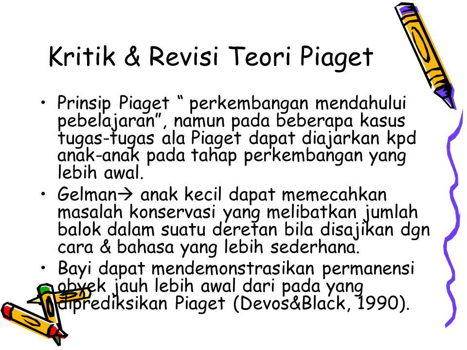 """Kritik & Revisi Teori Piaget •Prinsip Piaget """" perkembangan mendahului pebelajaran"""", namun pada beberapa kasus tugas-tugas ala Piaget dapat diajarkan"""