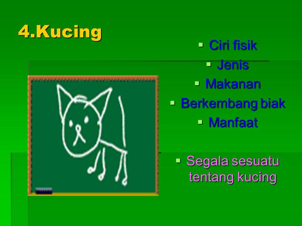 4.Kucing  Ciri fisik  Jenis  Makanan  Berkembang biak  Manfaat  Segala sesuatu tentang kucing